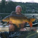 Perfectly colored carp boat fishing
