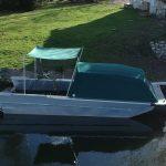 Sunshade on carp boat. France